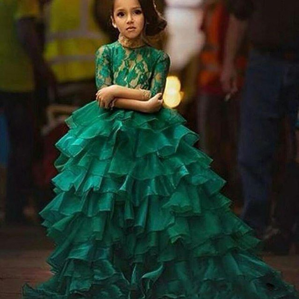 Green Lace Bodice Ruched Ruffles Flower Girl Dress Half Sleeves Floor Length Kids Vestido Mother Daughter Dresses for Girls