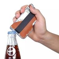 Wholesale Design Card Holder Aluminum Credit Card Holder RFID Blocking Card Id Holders Leather Minimalist Card Wallet For Men