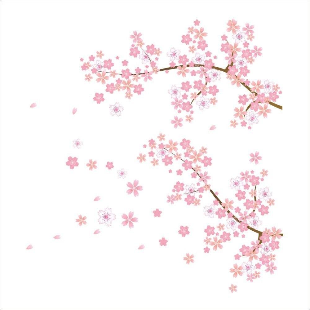 ④Rosa Flor del ciruelo flores pegatinas de pared salón sofá TV ...