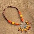 Tibet Nepal jóias étnicas colar dois pássaros D-08