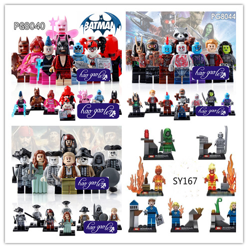 8pcs Pirates of the Caribbean Lesaro Captain Jack Edward Mermaid Davy Jones batman  Guardians of the Galaxy blocks Baby Toys pirates of the caribbean lesaro captain jack edward mermaid davy jones silent mary carina smith building blocks kids toys pg8048