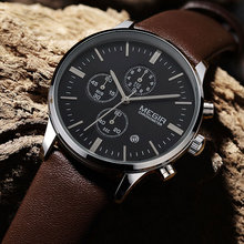 Rahat yeni askeri şık MEGIR marka tasarım moda chronograph erkekler erkek saat spor deri iş lüks kol saati hediye