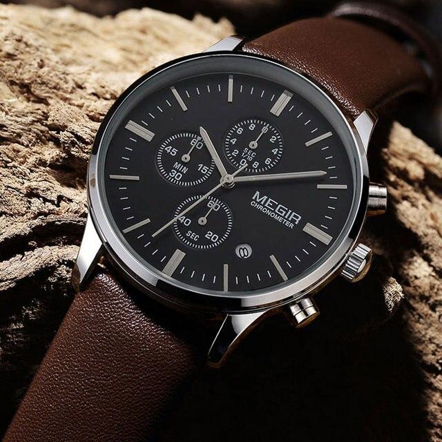 캐주얼 새로운 군사 세련된 megir 브랜드 디자인 패션 크로노 그래프 남성 남성 시계 스포츠 가죽 비즈니스 럭셔리 손목 시계 선물
