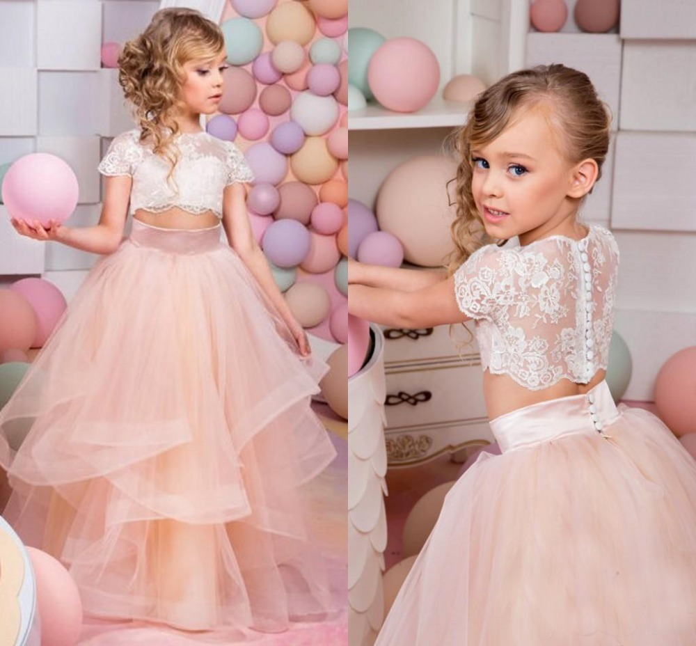 Puffy two pieces blush pink kids prom party pageant dress for junior short sleeves sheer lace flower girl dresses perform gown sheer lace plus size vintage party short prom dress
