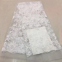 White African lace fabric high quality wedding lace 2018 African Fabric 5 Yards Cotton Lace for wedding decoration GF190 1
