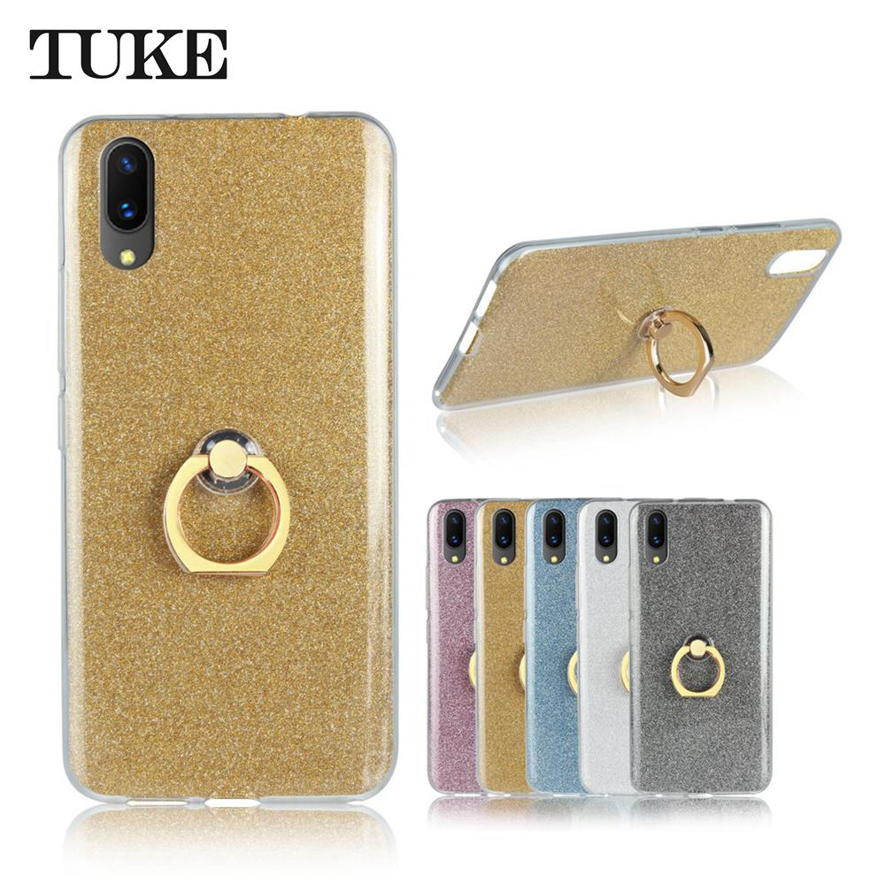 TUKE Protection Case for Vivo X21 UD Case Skin Ring Holder Soft Silicone Back Cover for Vivo X 21 UD Funda