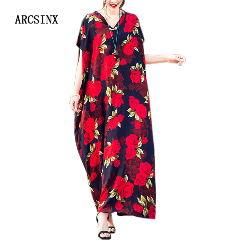 ARCSINX Floral Dress <font><b>Women</b></font> <font><b>Plus</b></font> <font><b>Size</b></font> 10XL 9XL 8XL <font><b>7XL</b></font> Oversized Boho Dress Woman Casual Large <font><b>Size</b></font> Dresses For <font><b>Women</b></font> 4XL 5XL 6XL image