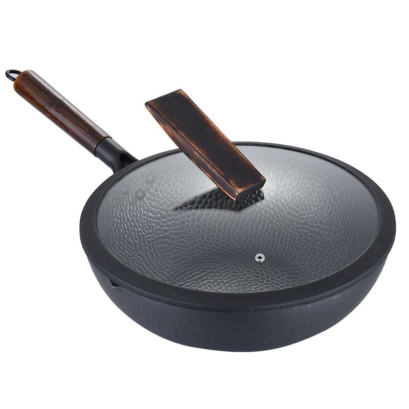 Casserole antiadhésive en fonte faite main 32 cm sans revêtement ustensiles de cuisine maison cuisinière wok moins-huile-fumée pour cuisinière à gaz cuisinière à Induction avec couvercle