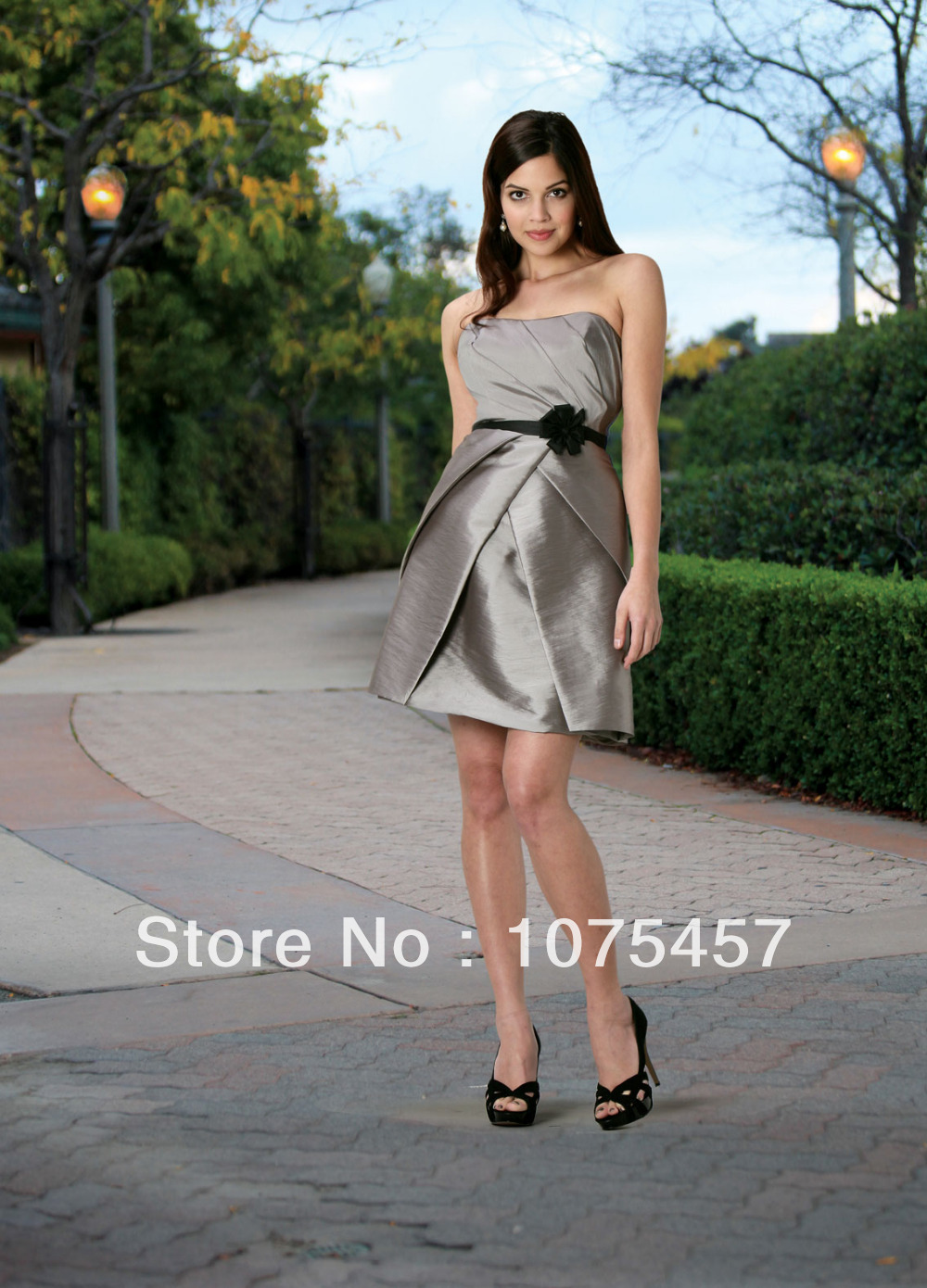 Online buy wholesale black silver bridesmaid dress from china modest 2014 silver bridesmaid dresses taffeta scoop black sashes flowers off the shoulder mini free shipping ombrellifo Gallery
