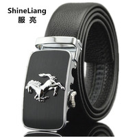 2015 Men S Cowhide Leather Belt Super Star Style Black White Gride Buckle Belts Men