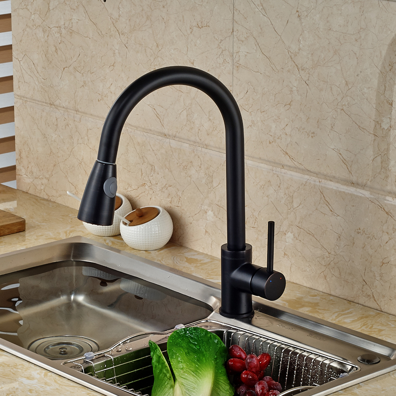 Ulgksd Black Brass Kitchen Sink Faucet With Aerator Pull Out Sprayer Kitchen Faucet Water Tap Water