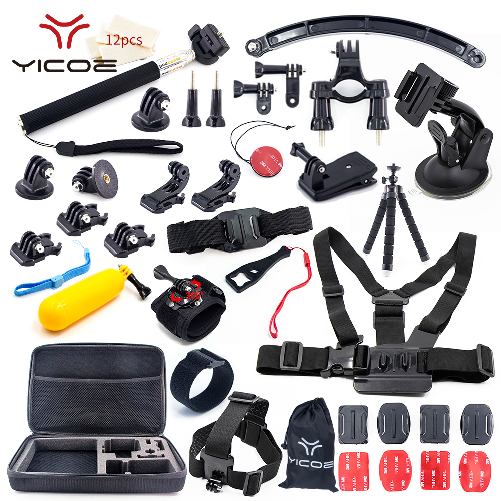 for Gopro Hero 6 Accessories kit Mount Adapter Tripod Stick for Go Pro 5 4 3 SJCAM SJ4000 Xiaomi yi 4k mijia Action Sport Camera wewow sport x1 handheld gimbal stabilizer 1 axis for gopro hreo 3 3 4 smartphone iphone 7 plus yi 4k sjcam aee action camera