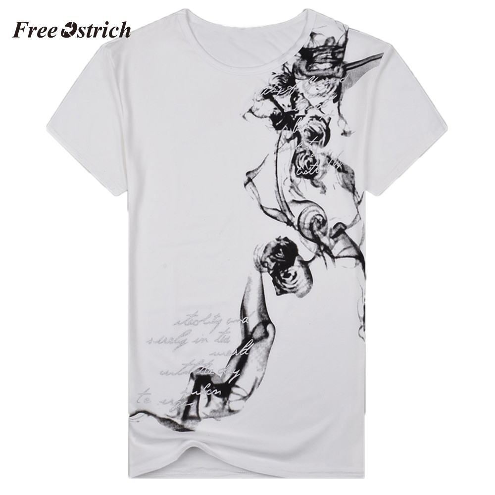 Free Ostrich Men's Slim Summer T-shirt O-neck Short Sleeve Pullover Tees Printed And Letter Men's Top Daily Wearing T-shirt