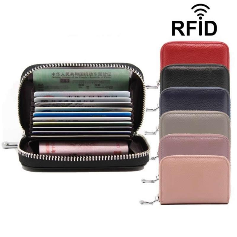 Vintage Genuine Leather Cowhide Rfid Card Holder Women Men Wallet For Credit Card Business Card Holders Organizer Purse Bag