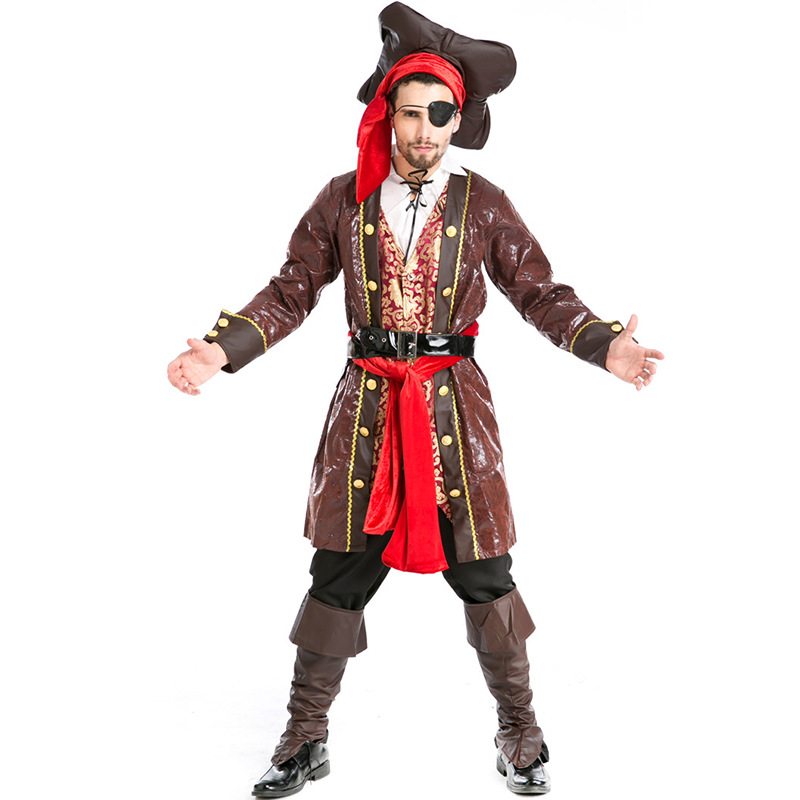 Jack Sparrow Pirate Costume Halloween Party Caribbean Cosplay For Carnival Party Masquerade Pirate Clothes Outfit