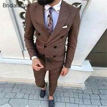 KUSON boda trajes para hombres 2 unidades Mens trajes Slim Fit (chaqueta +  Pantalones) novio esmoquin Formal marrón negocios Set. 00fa8df9cb9