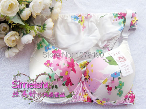New design Printed Bra Sets 100% silk underwear bra + panty set silk protein