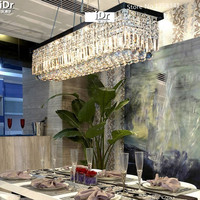 New rectangular K9 Pendant Lights for living room high quality Stainless steel Five rings Crystal lamps