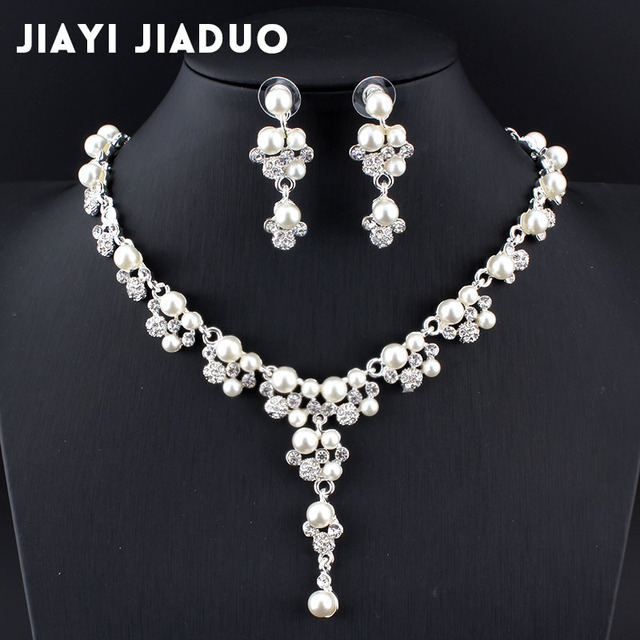jiayijiaduo Bridal jewelry sets for women wedding dress accessories silver color imitation pearl necklace earrings box gift 270