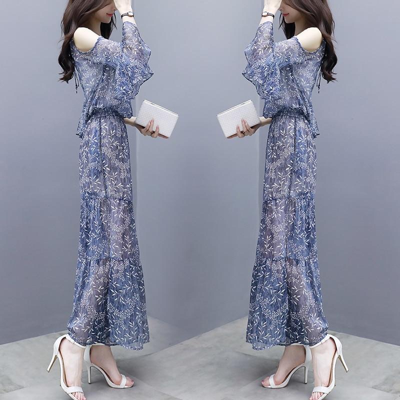 Pantalon Deux culture Mousseline Mode D'été Pièces Jambe Ensemble Haut Soie De Costume Blue Large 2018 Nouvelles Femmes Auto Impression Survêtement Pour wYTtUxqaa1