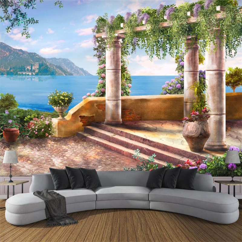 beibehang Custom 3d wall paper Roman column sea view 3d wallpaper living room sofa bedroom TV wall decoration painting the custom 3d murals parks sunrises and sunsets trees heart grass nature wallpapers living room sofa tv wall bedroom wall paper