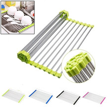Kitchen Roll Up Dish Drying Rack Foldable Stainless Steel Over Sink Fruit Vegetable Drainer Bowl Storage Holder Rack Organizer