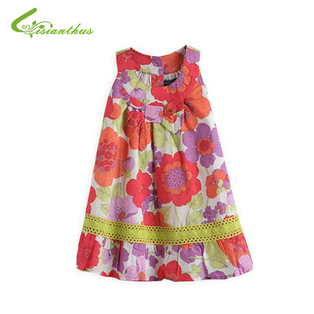 ddaec869695 Kids Girl Flower Vest Dress Children Cute Bohemian Sleeveless Dress Girls  2019 New Fashion Cotton Summer Clothing Drop Shipping