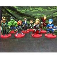 Avengers 3 Iron Man Hawkeye Superhero Doctor Strange Thor Falcon 8pcs/set PVC Action Figure DC Comics Model Toy Doll L2067