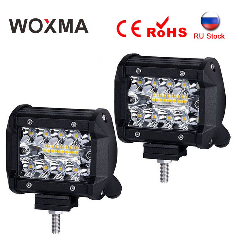 WOXMA LED Bar Offroad Work Light 4x4 12V Motorcycle Car Light 60W Combo 6000K White 4inch Driving Lamp for SUV Pickup Truck 7 inch 60w 6d led light bar lamp offroad waterproof 6000k universal work bulbs