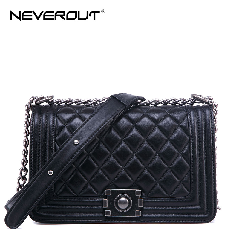 NeverOut Classic Diamond Lattice Genuine Leather Bag for Women High Quality Shoulder Sac Black Messenger Fashion Crossbody Bags карабин black diamond black diamond rocklock twistlock