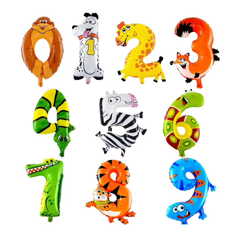 16-дюймовые воздушные шары из фольги с номером животного, Детские воздушные шары для душа с днем рождения, вечеринки, свадьбы, украшения, детские игрушки, Globos