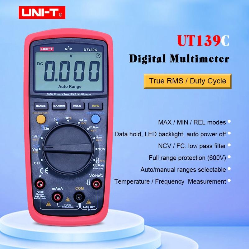UNI T UT139C Digital Multimeter True RMS Auto Range Voltmeter Handheld Tester 6000 Count Temperature transistor