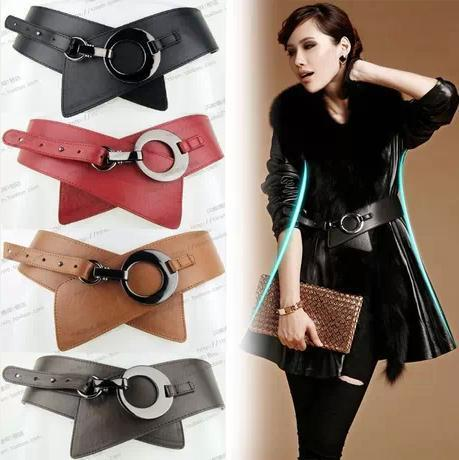 Fashion leather belt woman wide  adjustable belts for women