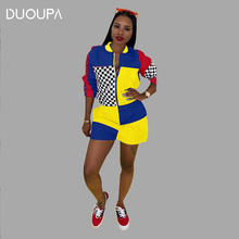 DUOUPA new products AliExpress Europe and America sexy standard code locomotive printing multi-color stitching jumpsuit spot
