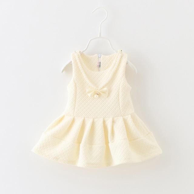 new children's clothing wholesale 2016 pure pearl faux necklace vest dress infantil fashion autumn cute baby clothes girls dress