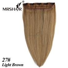 """Mrshair 27 # светло-коричневый зажим для волос 18 """"22"""" светло-коричневый волосы прямые Tic Tac cheveux парики 1 шт. клип на человеческих волос"""