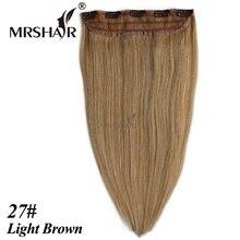 MRSHAIR 27# Light Brown Clip Hair 18″ 22″ Light Brown Hair Straight Tic Tac Cheveux Hairpiece 1pc Clip On Human Hair Extensions