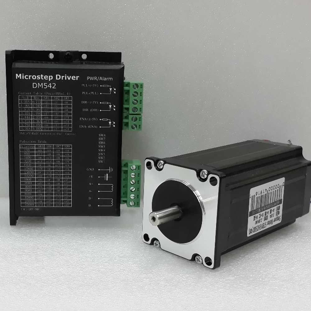 NEMA 23 CNC Kits Micro Stepper Driver AC24V-50V 2 Phase Easy Stepper Motor 1Nm Torque 1.8 Degree 3A for CNC Engraving Machine wantai new sale cnc 3 axis nema 23 stepper motor 57bygh115 003 425oz in driver dq542ma 128mic 50v 4 2a engraving