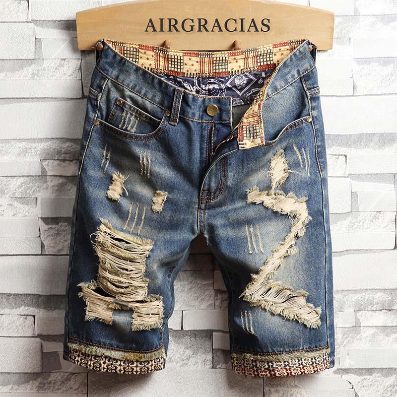 AIRGRACIAS Mens Ripped Short Jeans Brand Clothing Bermuda Cotton Shorts Breathable Denim Shorts Male New Fashion Size 28-40