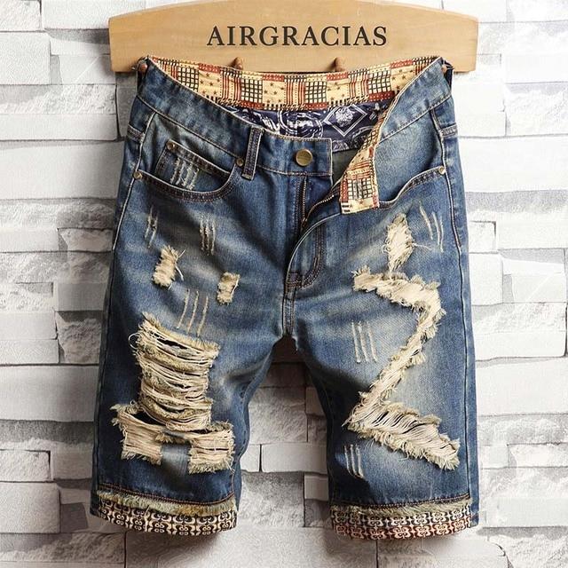 AIRGRACIAS Mens Ripped קצר ג ינס מותג בגדים ברמודה כותנה לנשימה מכנסי ג ינס קצרים זכר חדש אופנה גודל 28 40