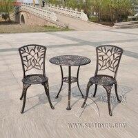 Открытый Патио Сад Бистро Комплект мебель 3 шт. бамбуковые листья дизайн литой алюминий крыльцо балкон кафе стол стулья