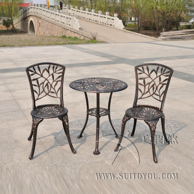 Outdoor Patio Garden Bistro Set Furniture 3PCS bamboo leaves Design cast Aluminum Porch Balcony Cafe Table & Outdoor Patio Garden Bistro Set Furniture 3PCS bamboo leaves Design ...