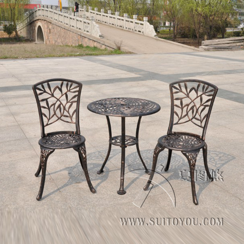 outdoor patio garden bistro set furniture 3pcs bamboo leaves design cast aluminum porch balcony cafe table