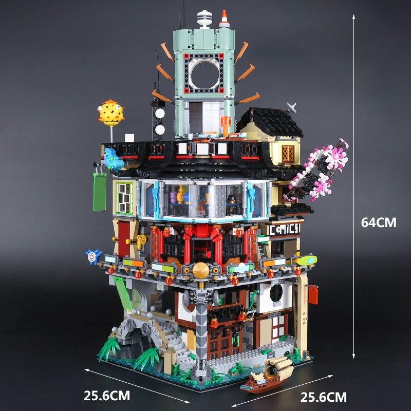 EN STOCK H & HXY 06066 4953 pcs Ninjago Ville Maîtres de Spinjitzu Building LEPIN Blocs Jouets Briques Compatible 70620 cadeau de noël
