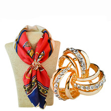 2016 New Trendy Elegant Scarf Buckle Brooch Hijab Pins Rhinestone Zinc Alloy Three Round  Broches For Women Gift S0007