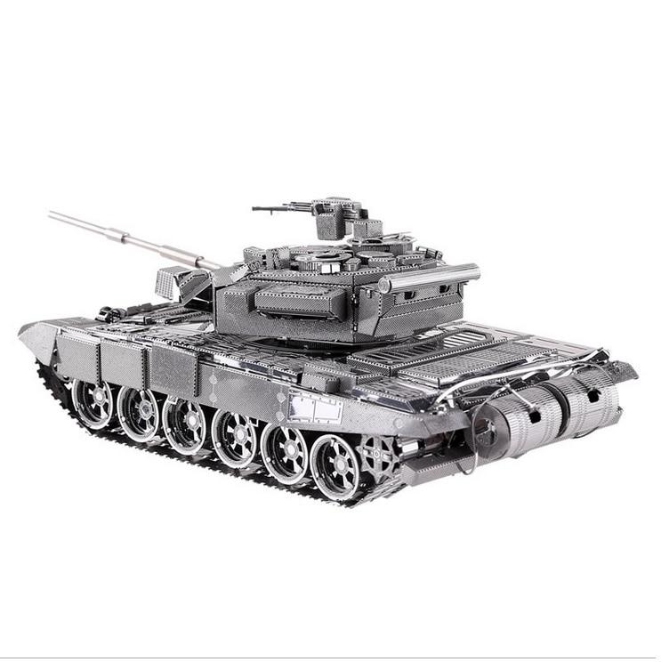 t90a tanque modelo de corte a laser de cor prata diy 3d modelo diy brinquedos educativos