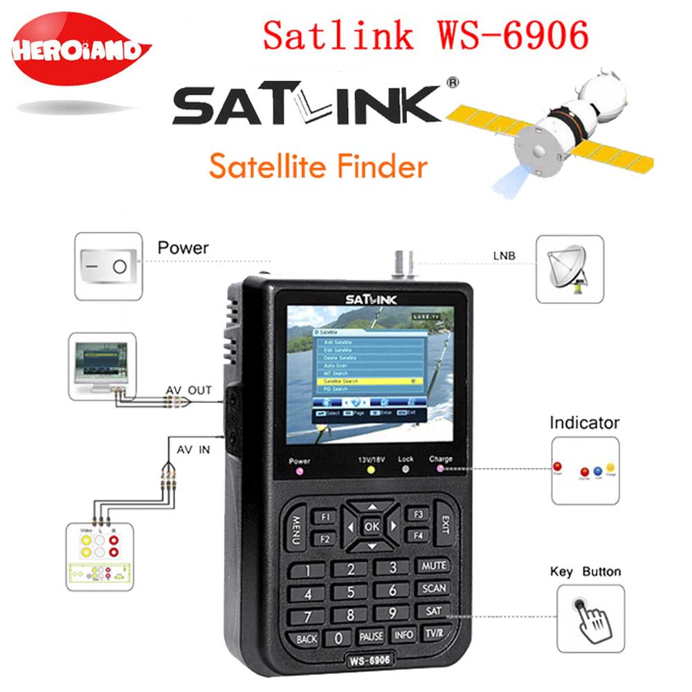 Hot Satlink WS-6906 Sat finder 3.5 DVB-S FTA 6906 digital satellite meter ws 6906 satlink Satellite Signal Finder PK V8 FINDER original satlink ws 6965 digital satellite meter fully dvb t