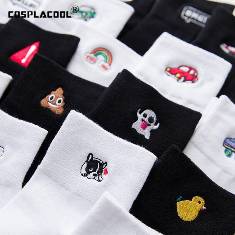 [COSPLACOOL]Harajuku Cute Funny Socks Chaussette Femme White/Black Embroidery Socks Women Character Skarpetki Damskie Sokken