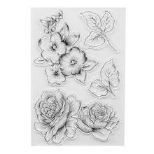 купить Creative DIY Flower Pattern Transparent Clear Seal Scrapbooking Photo Album Card Decorative Rubber Stamp Sheets по цене 72.95 рублей