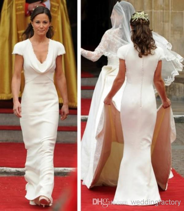 Vintage Affordable Pippa Middleton Bridesmaid Dress Simple Designer White Wedding Dresses A Line D Neck Bridal Gowns In From
